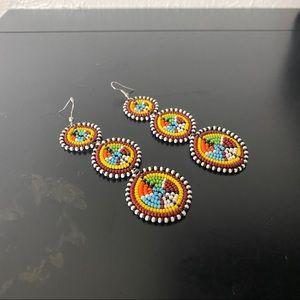 Native Beaded Disc Earrings
